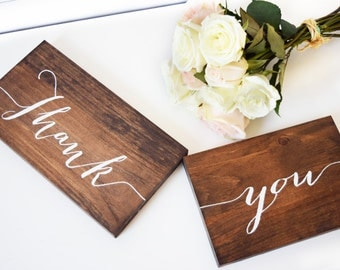 Wedding Thank You Signs- Wedding Photo Prop- Wooden Wedding Signs- Rustic Wedding Decor- Woodland Wedding Decor- Wedding Signage