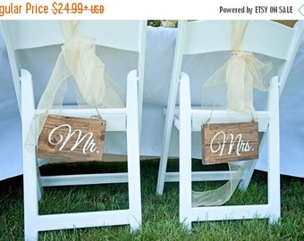 Sale Mr and Mrs Wedding Chair Signs-- Rustic Wedding Chair Signs- Wedding Wood Wedding Chair Signs- Wooden Chair Signs