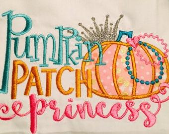 Pumpkin Princess - First Birthday pumpkin outfit - first birthday pumpkin shirt - baby girl 1st birthday outfit - Embroidered Shirt w band