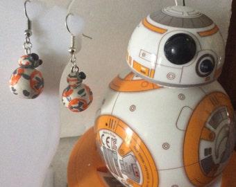 BB8 earrings starwards earrings dangle fan earrings Geeky  movie  earrings inspired dangle earrings