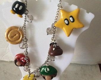 Super Mario bracelet charms inspired  handmade geeky jewelry valentines gift nerdy jewelry gamer jewelry