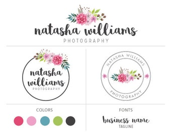 watercolor flower logo premade logo package floral logo custom logo design watermark branding package photographers logo marketing package