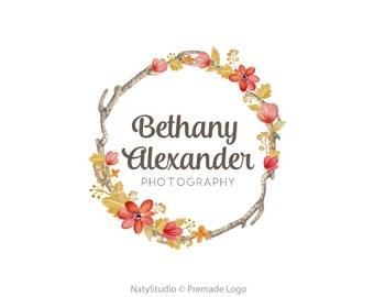 Premade logo wreath flower logo floral logo rustic logo photography logo boutique logo
