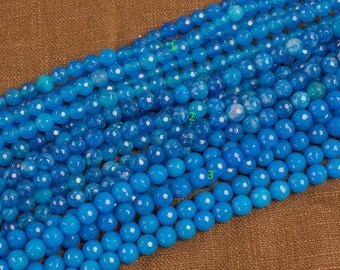 JADE Faceted Round 6mm Blue Turquiose-Full Strand 15.5 inch Strand
