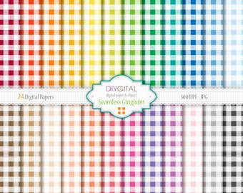 24 Seamless Gingham Digital Paper Set- Gingham digital papers in brights colors-Gingham patterns-Rainbow colors-Seamless gingham backgrounds