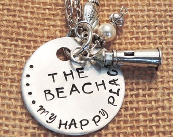 "Handmade, Hand Stamped, ""The Beach"" Silver Necklace"
