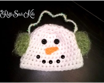 Custom Order Hand Crochet Winter Snowman Hat with Earmuffs Newborn-Adult