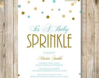 BABY SPRINKLE INVITATION Printable, Baby Girl Sprinkle Shower Invite, Gold and Pink Baby Shower, Sip and See, Diapers & Wipes, Digital Diy