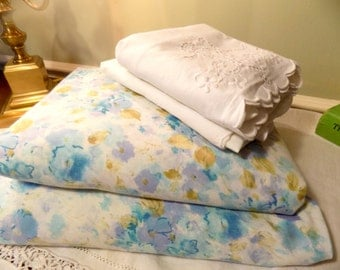 Vintage MisMatched Sheets, Cottage Chic Sheets, Remixed Sheets,  Blue Floral Vintage Sheets, Mix Match Sheets, 1960s Sheets, Full Size