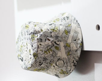 Woodland critters cream, lime & charcoal bucket hat
