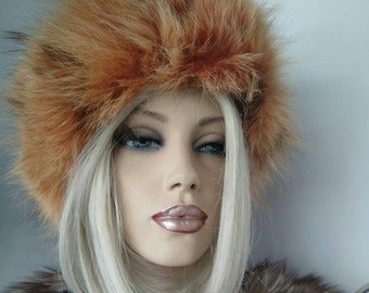 SALE!New!Natural,Real ORANGE Fox Fur HAT!!!