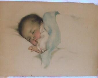 Original Bessie Pease Gutmann Lithograph, A LITTLE BIT of HEAVEN, Vintage New Baby Nursery Print, 1920's