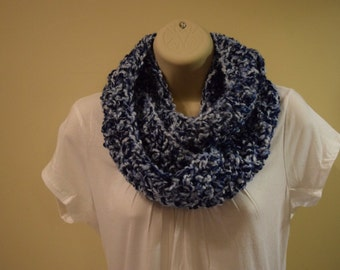 crocheted chunky infinity scarf circle scarf,  blue