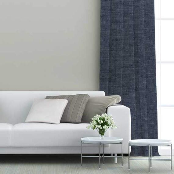 panneau de rideau de type passe pole en tissu escape bleu. Black Bedroom Furniture Sets. Home Design Ideas