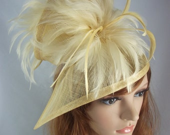 Champagne Gold Sinamay & Feathers Twist Fascinator - Hat Occasion Wedding Races