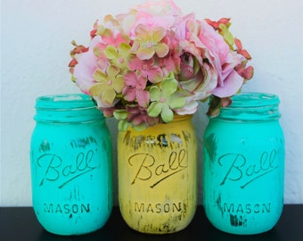 Set of 3 Mason Jars- Tiffany Blue and Yellow