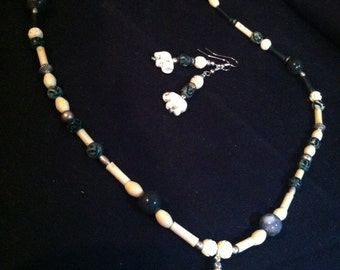 Green and Ivory Elephant Necklace and Earring set