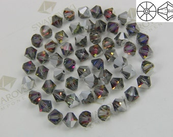 144 pieces Vintage Swarovski #5301 Crystal 4mm Volcano Bicone Faceted Beads