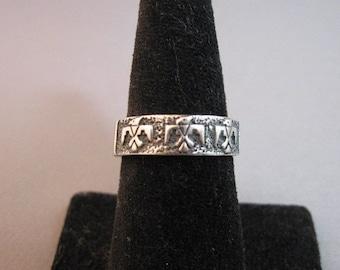Vintage Native American Masha sterling silver southwestern ring size 7 1/2