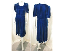 Vintage 1930s Cobalt Silk Velvet Dress Flared Bias Cut Skirt Puff Sleeves