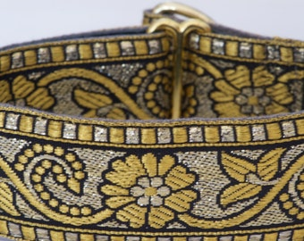FANCY PANTS Black and Gold Brocade Limited Slip Martingale Dog Collar for Greyhound, Whippet, Saluki, Sight Hound