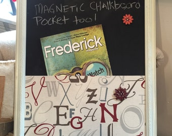 Vintage Magnetic Board with Magnetic pocket