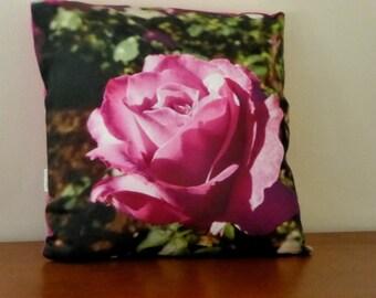 """16"""" Throw Pillow - Pink Rose - Rose Photography Pillow Cover - Rose Pillow - Original Rose Photograph - Garden Art"""