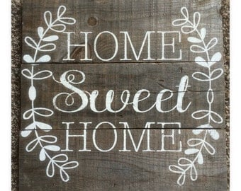 """16""""x16"""" """"Home Sweet Home"""" wall sign"""
