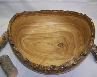 Extra Large Beautiful Chinese Chestnut Bowl with natural bark rim