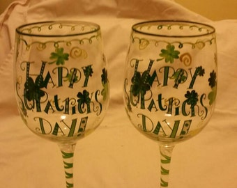 Happy St Patrick's day. Beautiful glasses. 1 glass 12 dollars four for forty