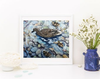 """Watercolor Print """" Mother and Baby Ducks"""" from original art painting - duck painting - pond and ducks"""
