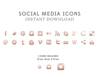 Rose Gold Social Media Icons & Buttons, Premade Social Media Icons, Blog Design, Website Icons, PNG - INSTANT DOWNLOAD