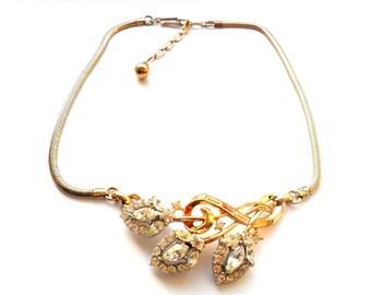 Vintage Trifari Rhinestone Necklace Gold Silver Rhodium Alfred Philippe 1953 Flirtation Bridal Wedding Gift Crown High End