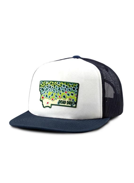 Fly fishing hat montana foam front flat bill snap back by dead for Flat bill fishing hats