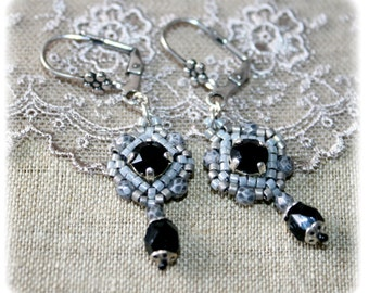 Earrings vintage, gray, black, inspiration Bohemia, old, Romanesque