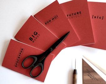 Pocket Notebook Pack // Pack of 5 Memo Books // Books for Word Nerds