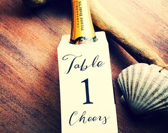 Wedding table numbers bottle tags