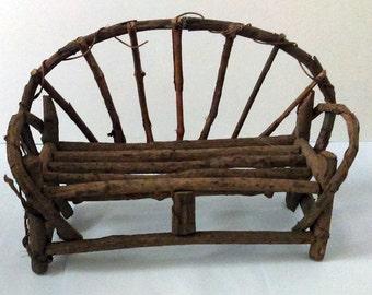 Vintage Handmade Rustic Bentwood Twig Doll / Teddy Bear Bench