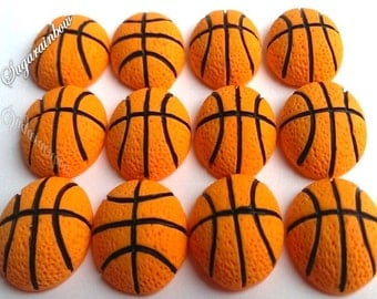 12 Edible sugar basketball decorations cake cupcake topper