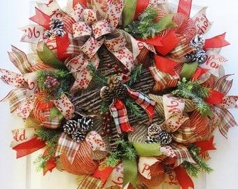Burlap Christmas Wreath, Rustic Christmas Wreath, Rustic Star Wreath, Christmas Burlap, Vine Star wreath, Deco Mesh Christmas, Winter Wreath