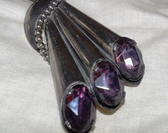 1960s  NAPIER Silvertone and Amethyst Pipe Organ Brooch- Large and Beautiful Purple stones!