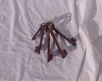 Beautiful shabby chic vintage French keys skeleton keys five key set