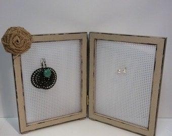 Earring storage, earring frame, earring display, double frame for earrings, earring stand, Jewelry frame, stud earring holder, loop earring