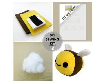 DIY Plushie Kit - Plush Bumble Bee Sewing Kit Stuffed Animal