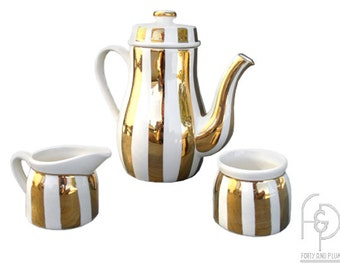 Laurie Gates Los Angeles Pottery White and Gold Coffee Service