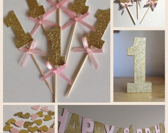 1st Birthday Party Package, Pink and Gold  Birthday Party Decorations, Girl's Party Decor