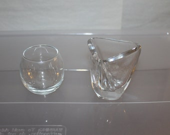 Vintage, Two Candle Holders, Floating Candles, Small Containers, Holds Anything You Want, Small, Nice Glass Etching on One, Home Decoration