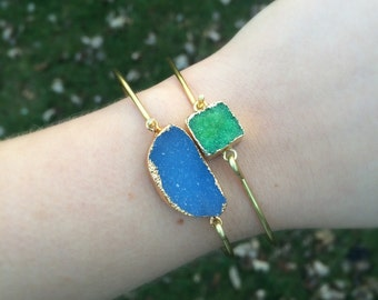 Bright Green Druzy Stacking Bracelet | Brass Bangle | Gold Plated Lime Green Druzy