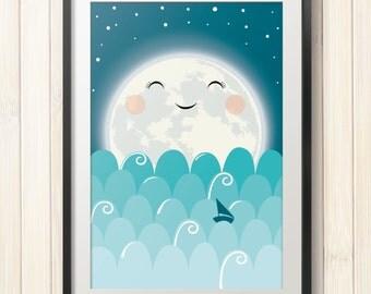 Moon kids poster,nursery poster,kids printable, children wall art,baby poster,kids room decor,nursery decor,digital file,instant download
