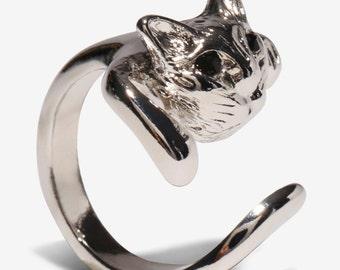Cat ring, cat lovers ring, animal ring, BFF ring set, friendship ring, kitty cat ring